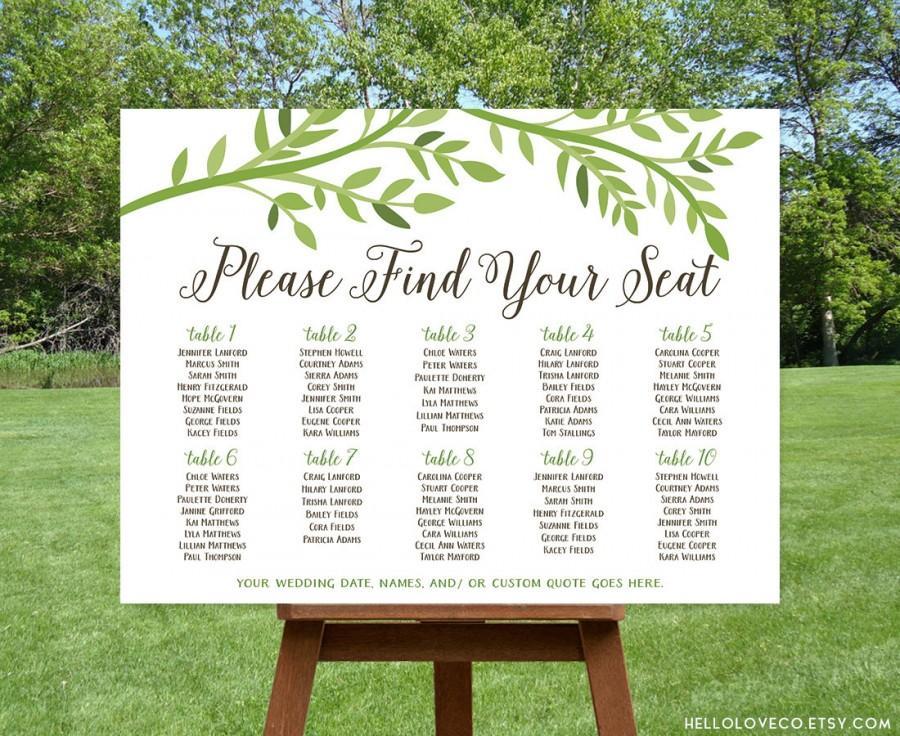 Hochzeit - PRINTABLE Large Wedding Seating Chart