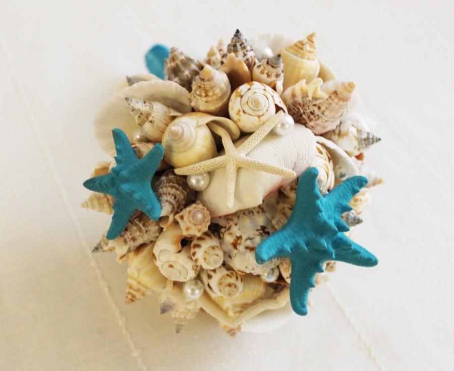 Свадьба - Sea shell small bouquet, Bridal bouquet Sea , Beach wedding, Wedding bouquet Handmade, Nautical, Seaside Wedding