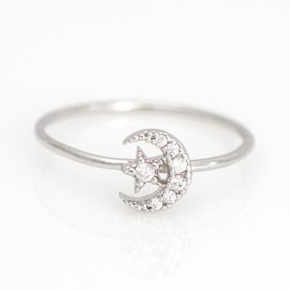 زفاف - Moon And Star Ring,gold,silver,CZ M