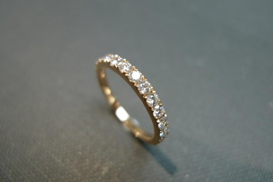 0 54ct Diamond Wedding Band In 14k Rose Gold Diamond Ring