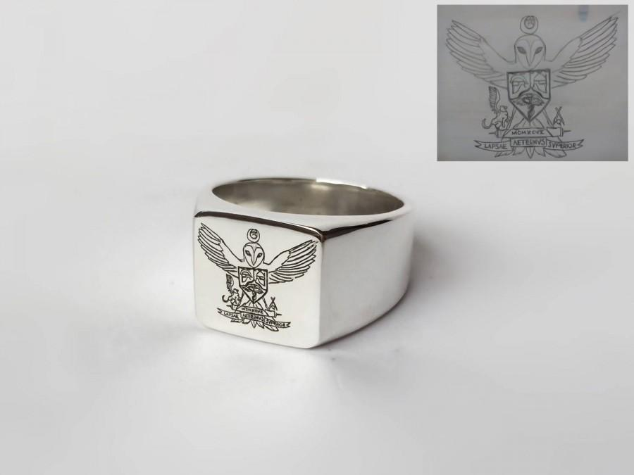 Wedding - Coat of Arms Family Crest Ring, Crest Engraved Ring, Personalized Ring, Picture Ring, Signet Ring, Special Gift for your man, Pinky Ring - $64.00 USD