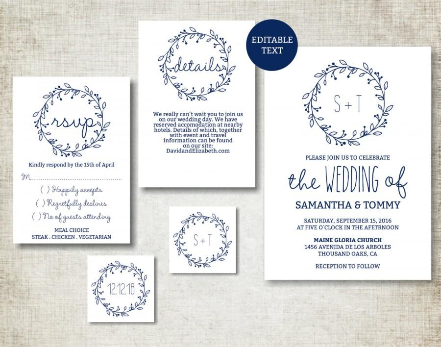 Text For Wedding Invitations: Wedding Invitation Template, Navy Classic Wreath Wedding