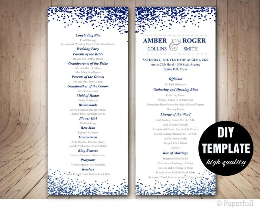 زفاف - Modern Wedding Program Template,Navy Blue Program template,Blue Wedding Program double sided, DIY wedding program, Confetti Wedding Program