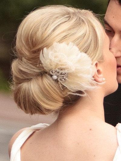 Wedding - vintage inspired hairpiece, 1920's, wedding hair accessory, feathered hairpiece, deco hairpiece, Deco Divine Betty fan hair clip hp5061F