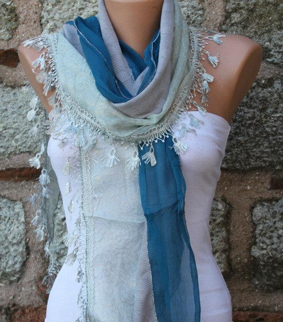 Свадьба - Blue Scarf Shawl, Wedding Scarf, Cowl Scarf Bridesmaid Gift Bridal Accessories Gift Ideas For Her Women Fashion Accessories