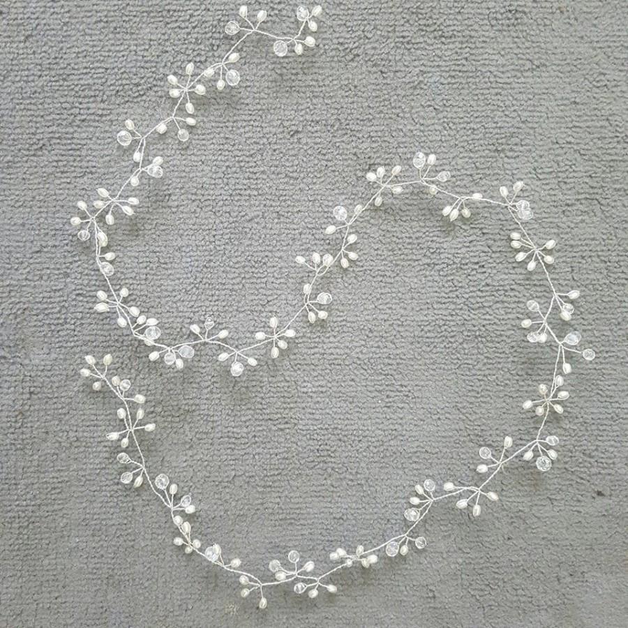 Mariage - long hair vine / pearl and crystal hair vine/ bridal hair vine / wedding hair vine/ full hair vine/