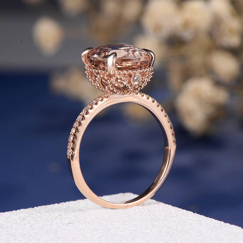 Mariage - Art Deco Engagement Ring Morganite Rose Gold Wedding Antique Women Oval Cut Diamond Eternity Band Anniversary Gifts Floral Flower Filigree