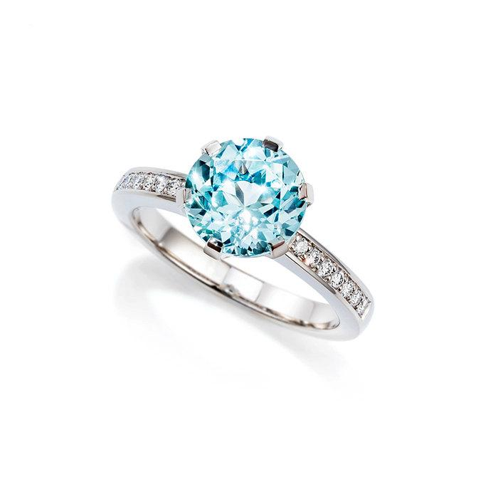 Wedding - Size 6.25, Light blue Beryl solitaire engagement ring with diamonds, white gold, blue engagement, beryl solitaire, collector gemstone