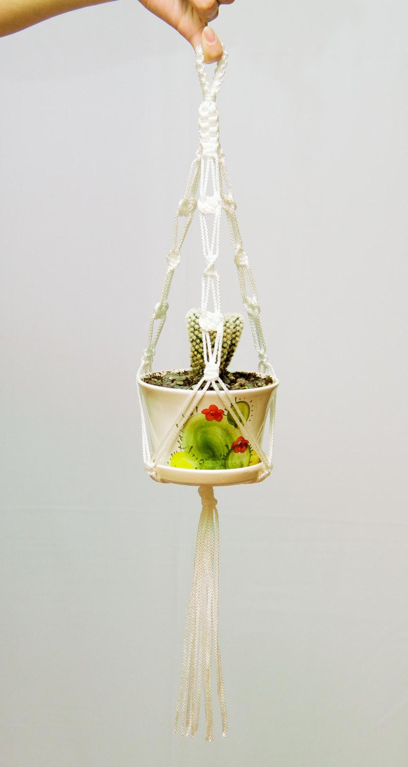 Wedding - Small Hanging Planter ~ Macrame Plant Hanger ~ Mini Pot Holder ~ Wedding Home Decor ~ Cactus Hanging Planter ~ Succulent Planter
