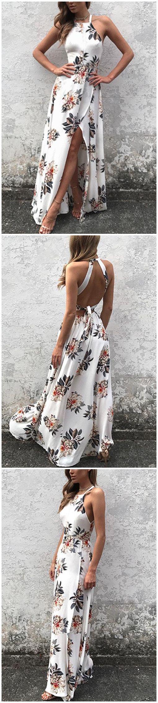 Свадьба - Sleeveless Side Split Back Lace-up Random Floral Print Maxi Dress