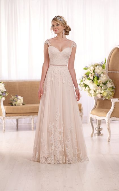 """Свадьба - This Gorgeous Lace Over Matte-side Lustre Satin A-line Wedding Gown From Essense Of Australia Features Sparkling Beading, A Head Turning Illusion Back, And Elegant Cap Sleeves In Lace. A 1/2"""" Grosgrain Ribbon Belt Accentuates The Waist, While The Fitted B"""