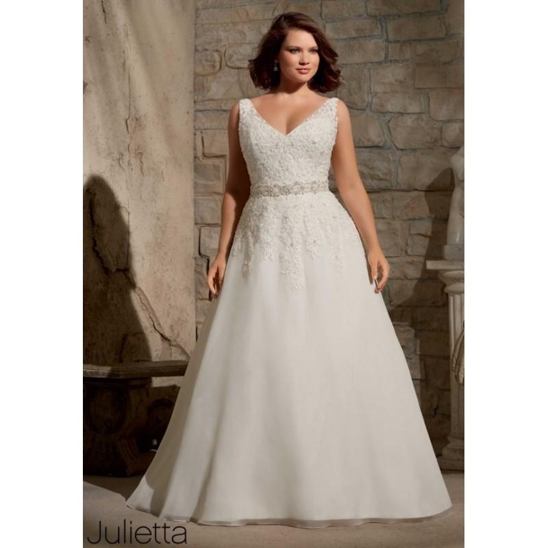 Julietta By Mori Lee 3173 Tank Lace A-Line Plus Size Wedding Dress ...