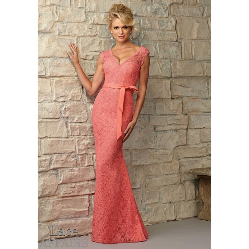 Wedding - Mori Lee Bridesmaids 724 Keyhole Back Long Lace Dress - Crazy Sale Bridal Dresses