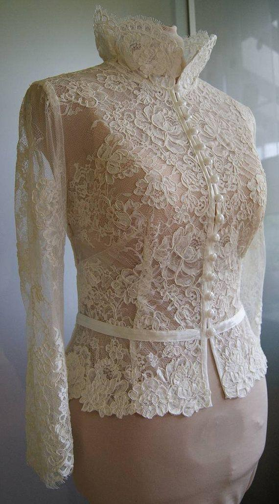 Hochzeit - Wedding Bolero, Top, Jacket Of Lace,alencon, Sleeves, . Unique, Exclusive Romantic Bridal Bolero ANIL