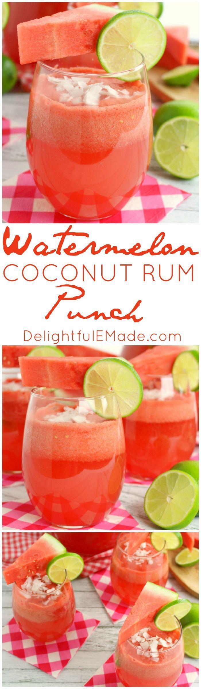 Hochzeit - Watermelon Coconut Rum Punch