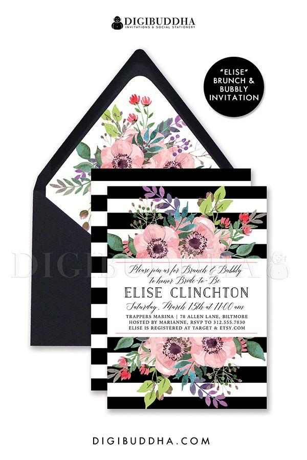 Wedding - BLACK & WHITE BRUNCH And Bubbly Bridal Invitation Stripe Pink Watercolor Flower Anemone Boho Wedding Free Shipping Or DiY Printable- Elise