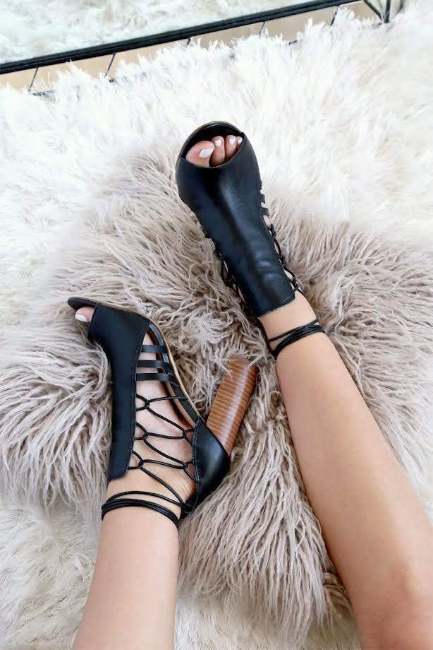 Свадьба - Sbicca Adette Black Leather Lace-Up Peep-Toe Booties