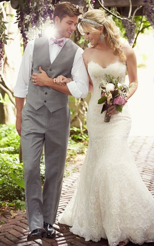 Modified A Line Lace Wedding Dress With Sweetheart Neckline From