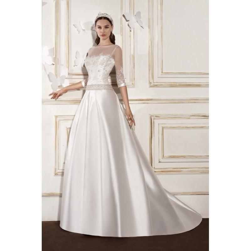 Свадьба - Style B8006 by Villais Collection from Karelina Sposa - Floor length Silk Illusion Chapel Length 3/4 sleeve A-line Dress - 2017 Unique Wedding Shop