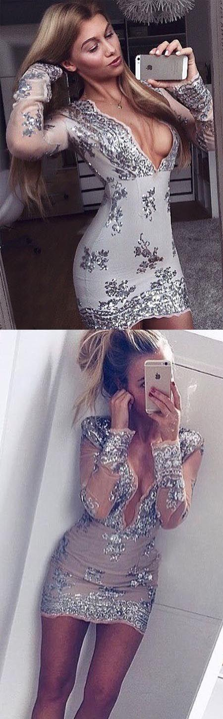 Wedding - Sexy Sheath Deep V-Neck Long Sleeves Short Homecoming Dress With Sequins Sold By Dressthat