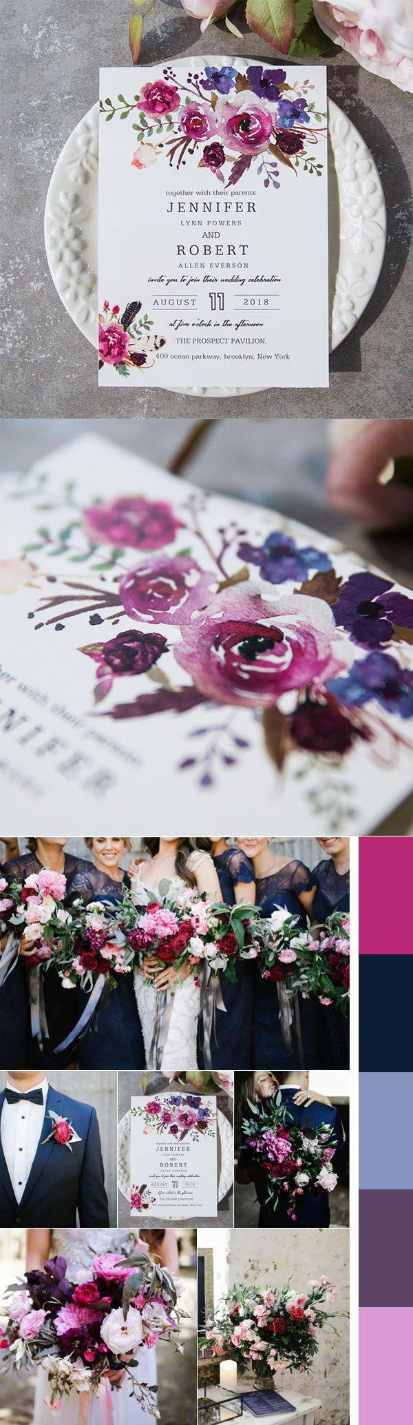 Wedding - Spring Magenta Shades Of Purple Wedding Invitations EWI423