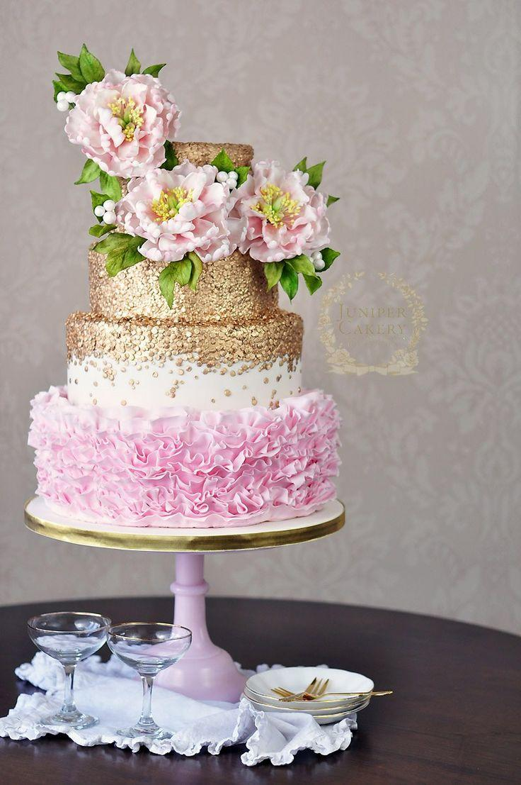 Boda - Gold And Pink Wedding Cake