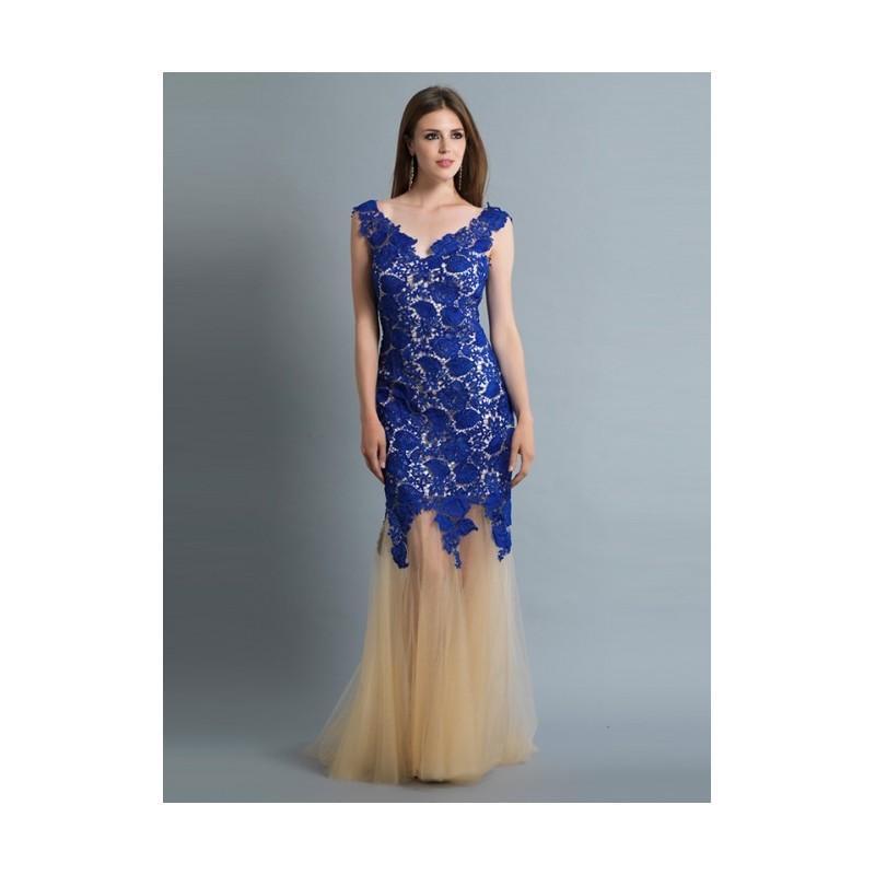 Wedding - 2017 Elegant Sheath Champagne With Royal Blue Lace Lace Up Cheap Prom Dress - dressosity.com