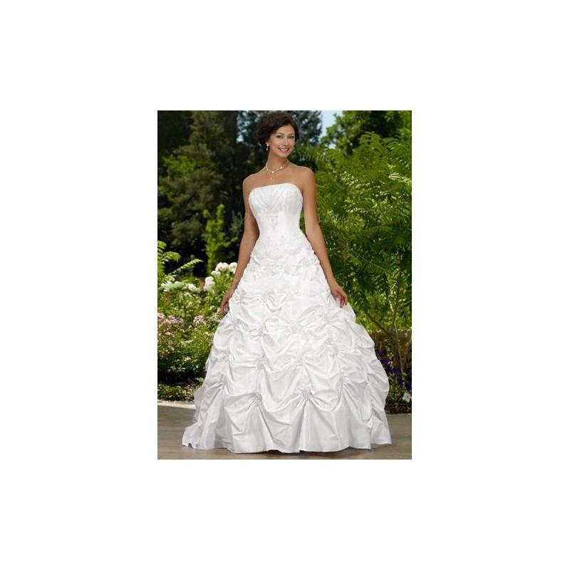 Wedding - Ball-Gown Strapless Floor-Length Taffeta Wedding Dress With Ruffle Beading - Beautiful Special Occasion Dress Store