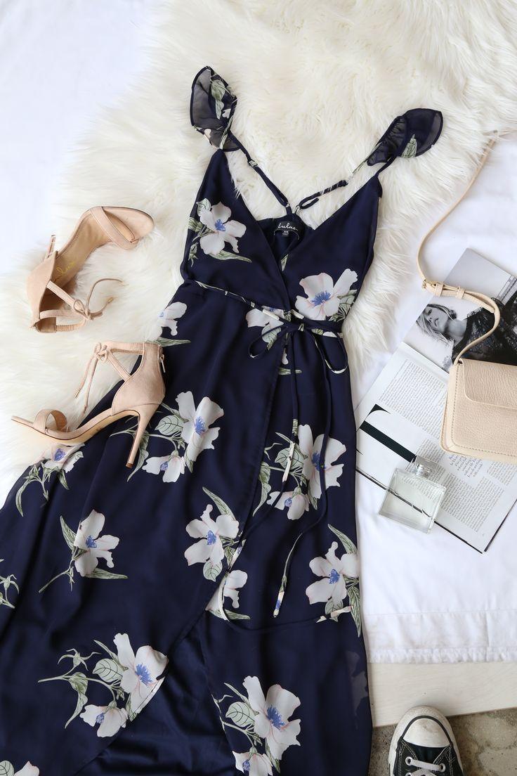 71e32ac1cf All Mine Navy Blue Floral Print High-Low Wrap Dress  2730770 - Weddbook