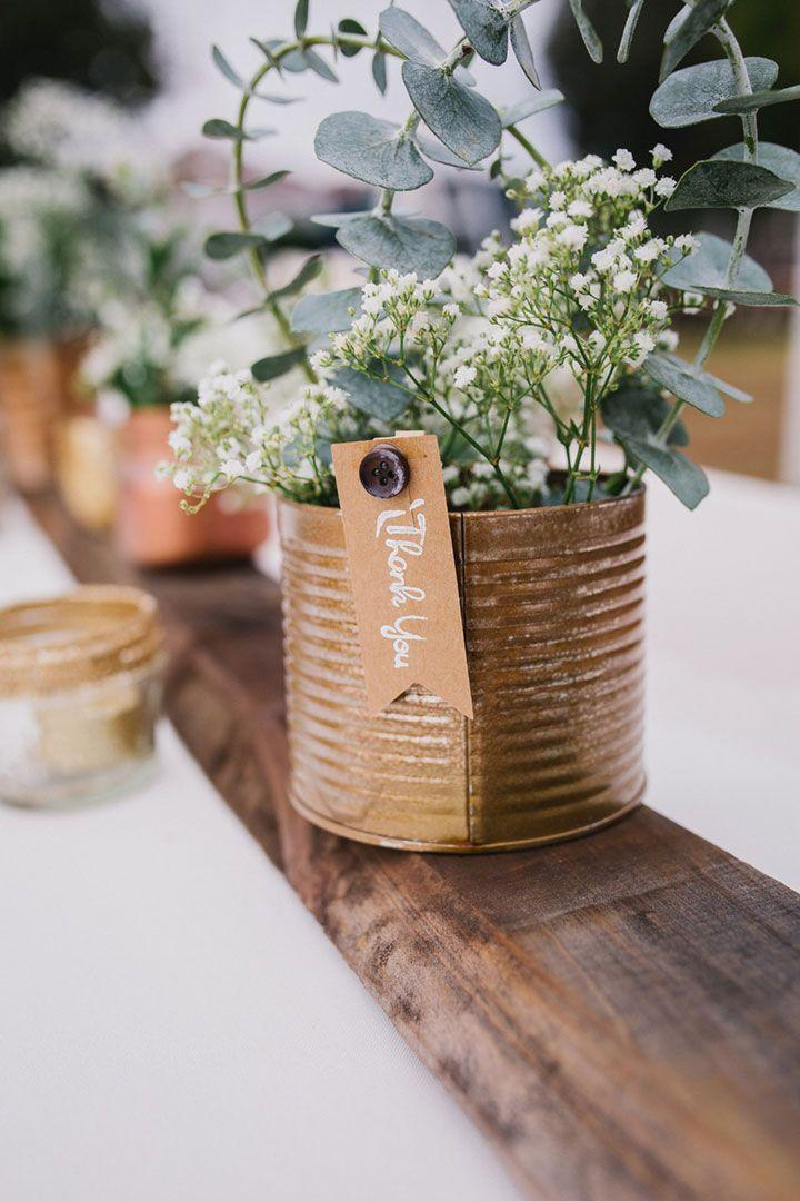 Wedding - DIY Upcycled Metallic Tin Can Wedding Centerpieces