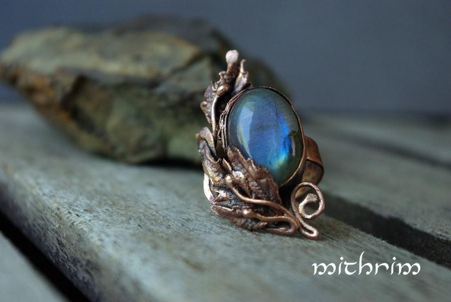 Wedding - Blue labradorite ring Elvish style Copper ring Free size Blue stone ring Elven jewelry Botanical ring Misty blue labradorite Gift for her