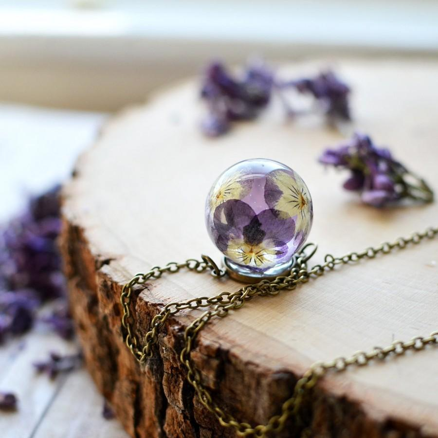 Wedding - Real flower necklace pansy viola resin jewelry - pressed flower jewelry, terrarium jewelry, romantic jewelry