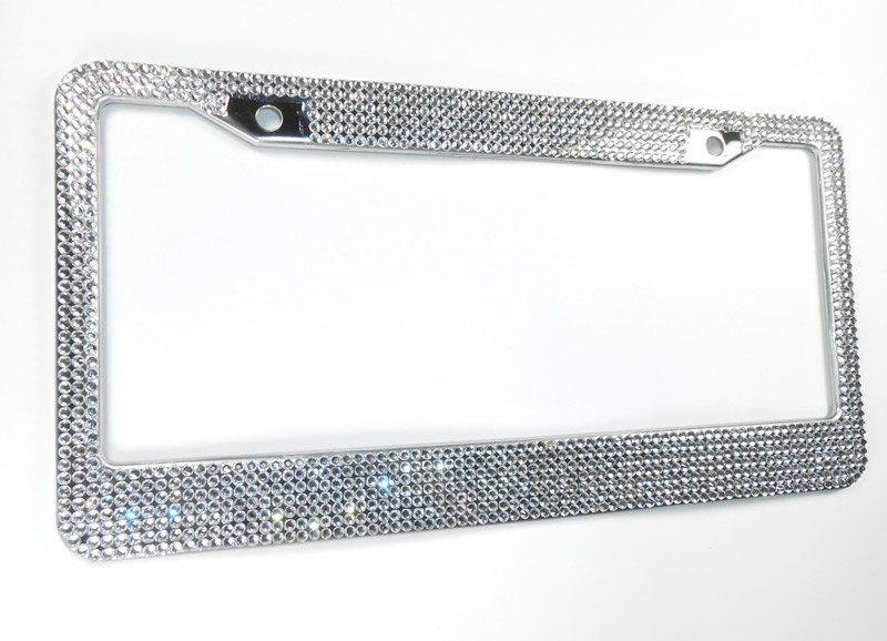 Wedding - Rhinestone License Plate Frame, 7 Row Bling Frames w/Screw Cap Covers, Crystal Car Accessory, Car Bling, Gift For Women, Bling Car Decor