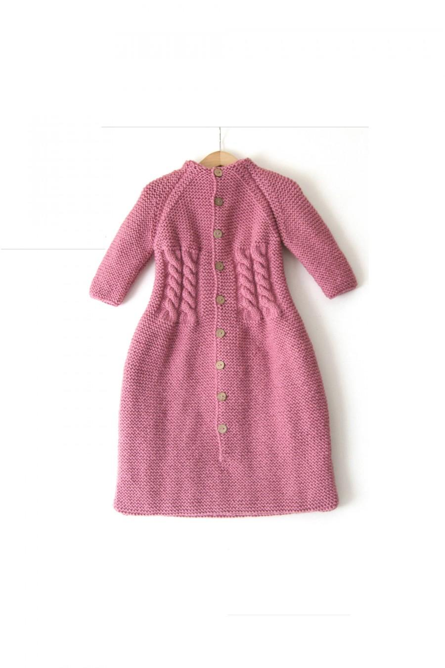 Wedding - NEW! Hand Knitted wool baby Sleeping Bag, chunky, raglan long sleeves with coconut buttons on the front side