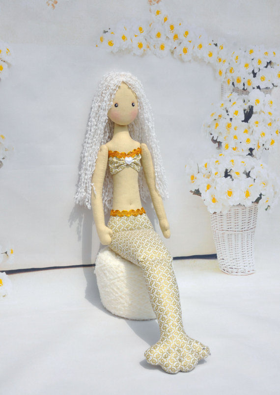 Wedding - Textile Doll Mermaid, Mermaid Fabric, Mermaid Plush Doll, Handmade Mermaid