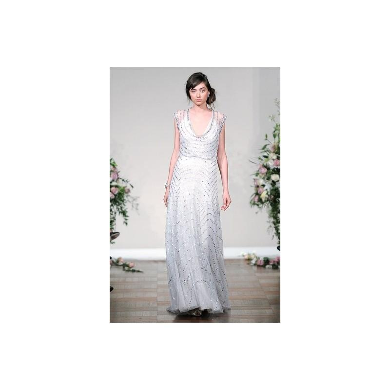 Wedding - Jenny Packham FW13 Dress 26 - Sheath Jenny Packham Fall 2013 White V-Neck Full Length - Nonmiss One Wedding Store