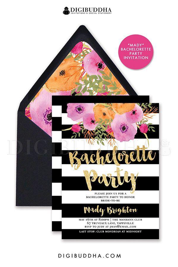 bachelorette party invitation black white stripe bridal shower