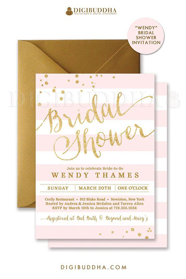 Wedding - Blush PINK & GOLD BRIDAL Shower Invitation Stripes Printable Invite Pink Gold Glitter Modern Wedding Free Priority Shipping Or DiY- Wendy