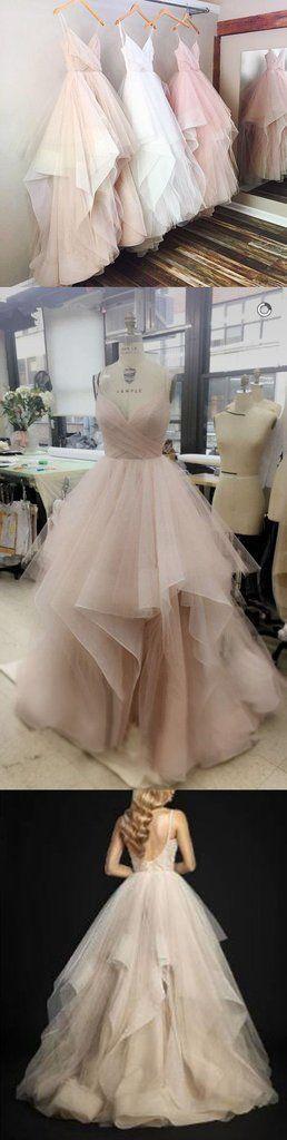 Wedding - Gorgeous A-line V-neck Spaghetti Straps Long Wedding Dress