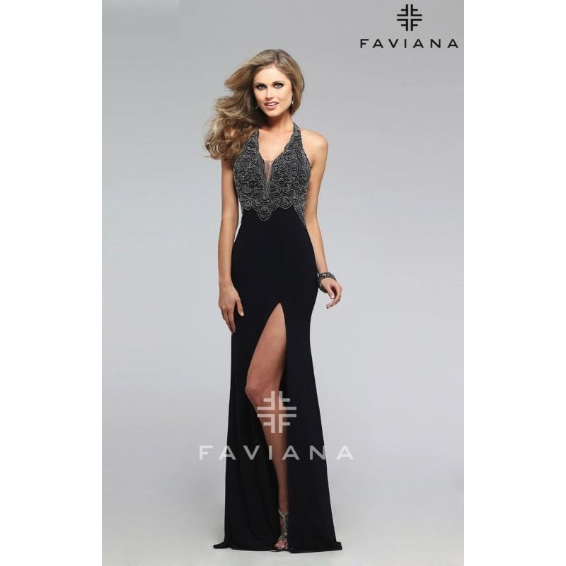 Navy faviana s7709 high slit jersey knit open back dress for Jersey knit wedding dress