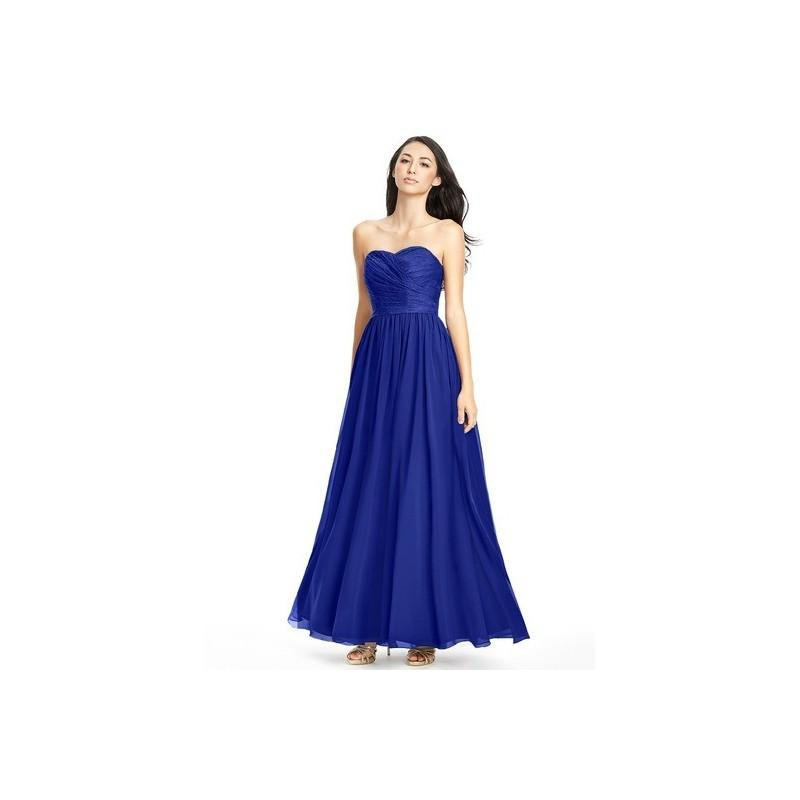 Wedding - Royal_blue Azazie Lilou - Sweetheart Back Zip Floor Length Chiffon And Lace Dress - Charming Bridesmaids Store