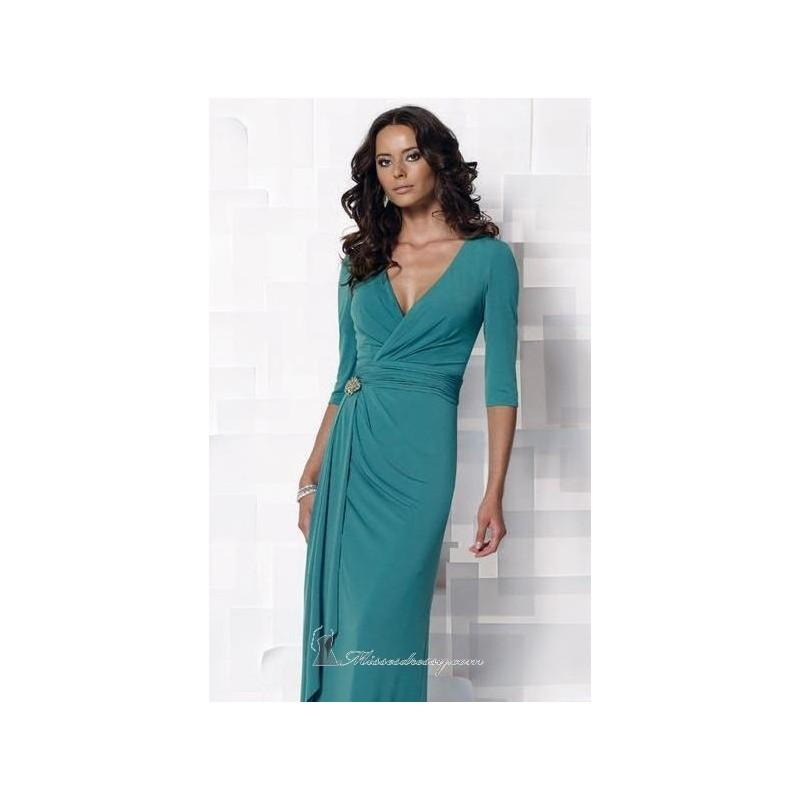 Свадьба - Turquoise Appliqued Matte Jersey Gown by Cameron Blake - Color Your Classy Wardrobe