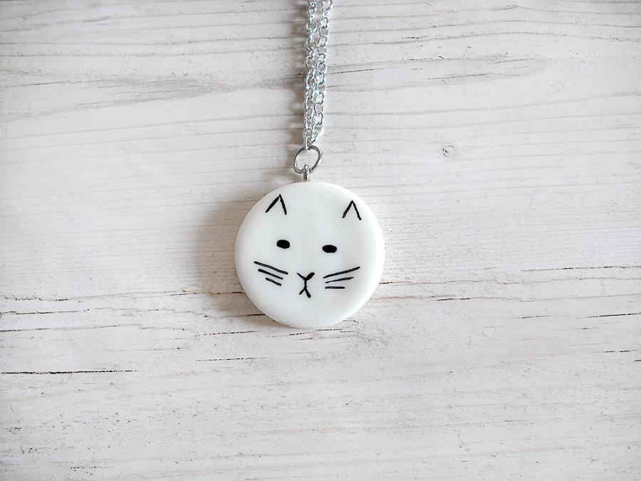 Hochzeit - Abstract cat necklace cold porcelain pendant elegant geometric white circle necklaces gold necklace woman long necklaces fashion jewelry