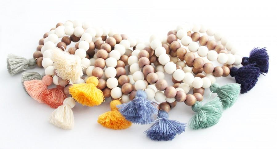 Hochzeit - Tassel Bracelet, Beaded Tassel Bracelet, Tassel Jewelry, Wood Bead Tassel Jewelry