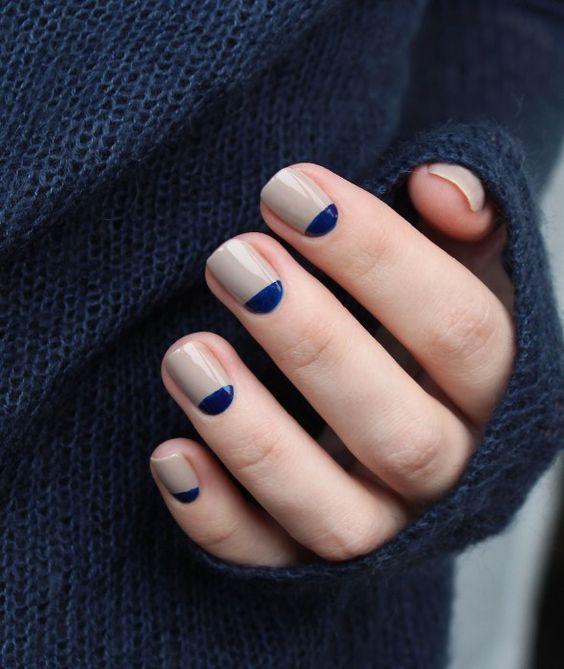 Nail - Navy And Beige Nails #2732431 - Weddbook