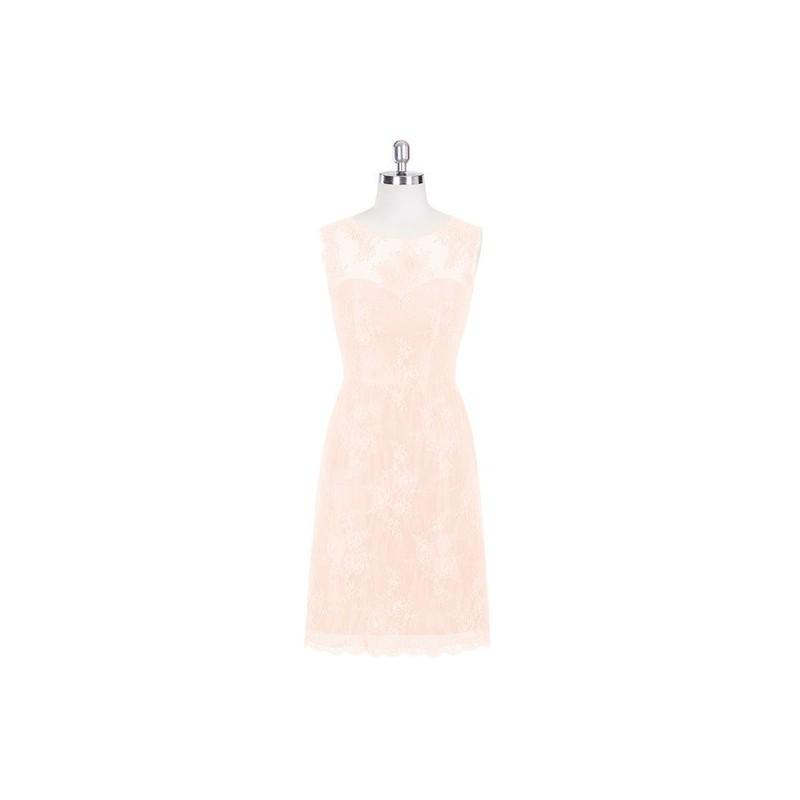 Wedding - Pearl_pink Azazie Zaria - Illusion Scoop Lace Knee Length Dress - Charming Bridesmaids Store