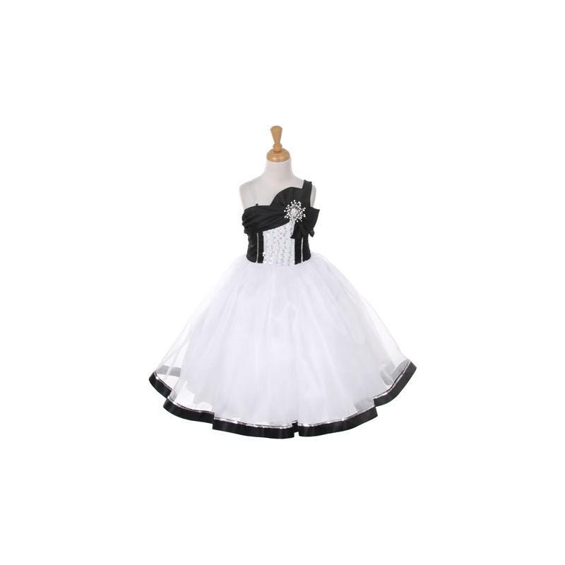 Wedding - White & Black One Shoulder Sparkle Organza Dress Style: D2061 - Charming Wedding Party Dresses