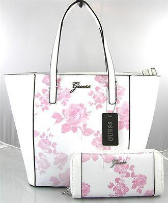 Mariage - AUTHENTIC NEW NWT GUESS SONJA PINK WHITE TOTE BAG PURSE & WALLET