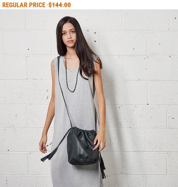 Mariage - Sale, Gray Fringe Leather Bucket Bag, Shoulder Leather Bag, Drawstring Crossbody Purse with Fringe , Gift For Her