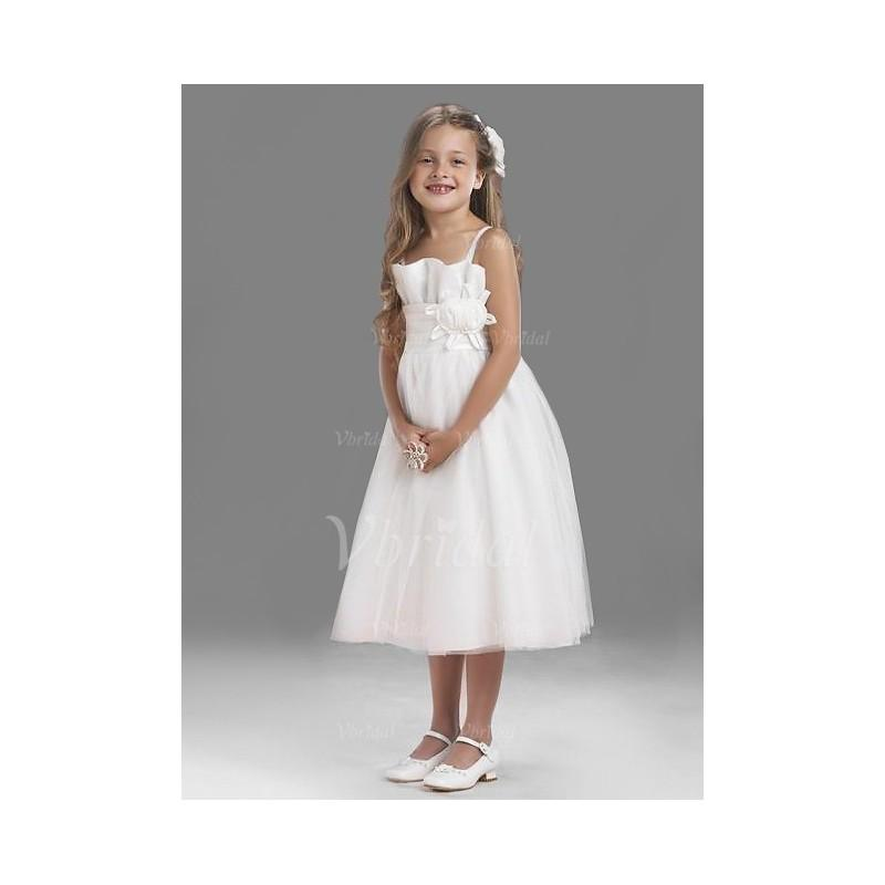 Wedding - A-Line/Princess Strapless Tea-Length Taffeta Tulle Flower Girl Dress With Ruffle - Beautiful Special Occasion Dress Store